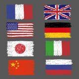 Grupo de bandeiras tiradas mão do mundo do grunge ilustração stock