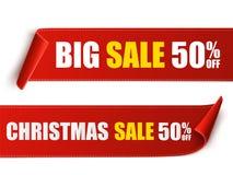 Grupo de bandeiras vermelhas do Natal Forre rolos Etiquetas da venda do Xmas do vetor ilustração royalty free