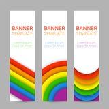 Grupo de bandeiras verticais coloridas modernas para Pride Month Fotos de Stock Royalty Free
