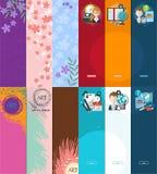 Grupo de bandeiras verticais com flores e de lugar para seu texto Fotografia de Stock