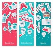 Grupo de bandeiras verticais sobre a odontologia ilustração do vetor