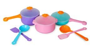 Grupo de bandejas com utensílios da cozinha Imagem de Stock