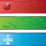 Grupo de bandeiras médicas. Foto de Stock