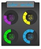 Grupo de barras coloridas do progresso Tema da venda para o Cyber segunda-feira Imagens de Stock Royalty Free