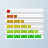 Grupo de barras do progresso Indicadores da carga Ilustração do vetor Imagem de Stock