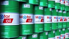 Grupo de barriles apilados con el lubricante del aceite de motor en almacén ilustración del vector