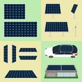 Grupo de baterias do sol no fundo isolado Imagens de Stock