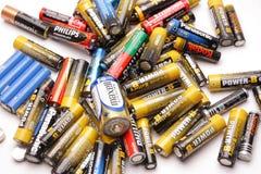 Grupo de baterias velhas Fotografia de Stock