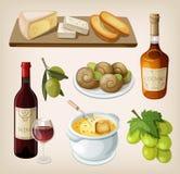 Grupo de bebidas e de aperitivos do francês ilustração royalty free