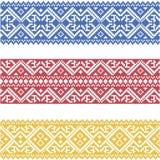 Grupo de beiras ornamented sem emenda baseadas no bordado ucraniano Imagem de Stock Royalty Free
