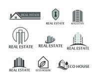 Grupo de bens imobiliários dos logotipos, casa do eco Logotipos no vetor no branco Foto de Stock Royalty Free
