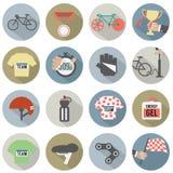 Grupo de bicicleta do projeto e de ícones lisos dos acessórios Fotos de Stock Royalty Free