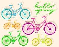 Grupo de bicicletas coloridas com sombras e texto Foto de Stock