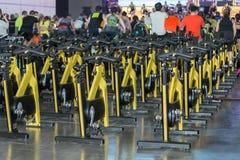 Grupo de bicicletas de giro amarelas modernas: Exercício da aptidão na classe no Gym fotos de stock