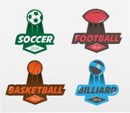 Grupo de bilhar do basquetebol do futebol do futebol Imagens de Stock Royalty Free
