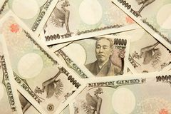 Grupo de billete de banco japonés 10000 yenes Fotos de archivo libres de regalías