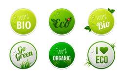 Grupo de bio, eco, elementos orgânicos da etiqueta Fotos de Stock Royalty Free