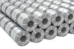 Grupo de bobinas de aço inoxidável Rolls da chapa de aço, rendição 3D ilustração royalty free