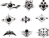 Grupo de bobos decorativos florais simétricos Fotos de Stock