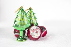 Grupo de bola colorida do Natal com o desenho de Santa Claus e Fotos de Stock Royalty Free