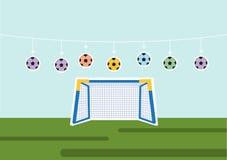 Grupo de bola com objetivo do futebol, esporte, ilustrações do vetor Fotografia de Stock Royalty Free
