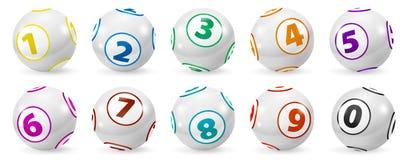 Grupo de bolas coloridas loteria do número 0-9 Imagem de Stock