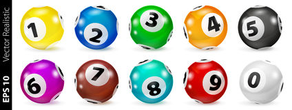 Grupo de bolas coloridas loteria do número 0-9 Fotografia de Stock