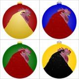 Grupo de bolas do Natal com ilustração dos galos ilustração do vetor
