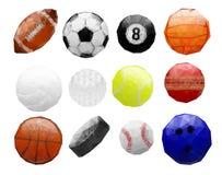 Grupo de bolas poligonais abstratas dos esportes Foto de Stock Royalty Free