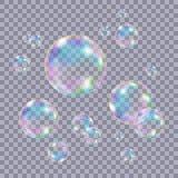 Grupo de bolhas de sabão coloridas transparentes realísticas ilustração do vetor