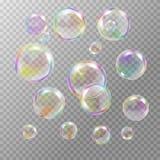 Grupo de bolhas de sabão transparentes coloridos Foto de Stock