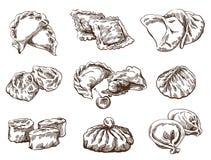 Grupo de bolinhas de massa diferentes Imagens de Stock Royalty Free