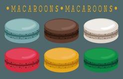 Grupo de bolinhos de amêndoa lisos, ícone dos macarons Imagens de Stock Royalty Free