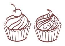 Grupo de bolos doces e saborosos Fotografia de Stock