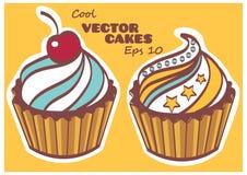 Grupo de bolos doces e saborosos Fotos de Stock Royalty Free