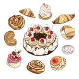 Grupo de bolos e de bolos doces Ilustração do vetor Fotos de Stock