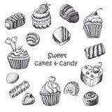 Grupo de bolos e de doces do doce ilustração royalty free