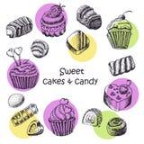 Grupo de bolos e de doces isolados do doce ilustração stock