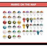 Grupo de Bolshoay de Pokemon Bolas e marca no mapa Foto de Stock