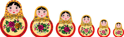 Grupo de 6 bonecas bonitos do matryoshka do russo Foto de Stock Royalty Free