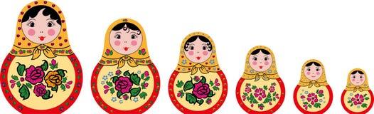 Grupo de 6 bonecas bonitos do matryoshka do russo ilustração stock