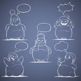 Grupo de boneco de neve de cinco desenhos animados. Branco em um backg azul Imagem de Stock