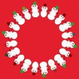 Grupo de boneco de neve engraçado dos desenhos animados bonitos para o inverno Imagem de Stock Royalty Free