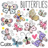 Grupo de borboletas bonitos dos desenhos animados Fotos de Stock Royalty Free