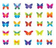 Grupo de borboletas coloridas bonitas para o decorati Fotografia de Stock