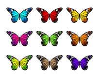 Grupo de borboletas coloridas realísticas isoladas para a mola Fotografia de Stock