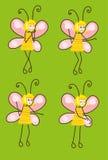 Grupo de borboletas dos desenhos animados com emoções diferentes Vetor Fotos de Stock Royalty Free