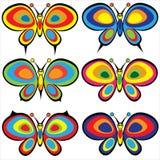 Grupo de borboletas isoladas no branco ilustração stock