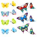 Grupo de borboletas multi-coloridas Os insetos são uma vista superior e um lado Vetor, ilustração no estilo liso no branco Imagem de Stock Royalty Free