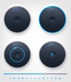 Grupo de botão lustroso e ícones no tema do áudio ilustração stock